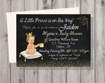 Digital Chalkboard Blue and Gold Prince Baby Boy Shower Invitation Personalized Printable
