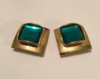 Green Jewel Ear Clips