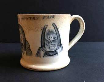 Truly Amazing Antique Pearlware Transfer Printed Mug - Decorated with Men Gurning