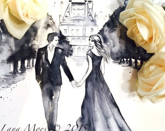 Paris For Two Romantic Original Watercolor Painting - Romantic Bliss Collection - Wedding Illustration by Lana Moes