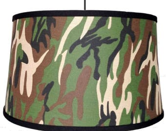 Lovely Rustic Vintage Outdoorsman Antique Camouflage Camo Plug In Drum Swag Lamp  Pendant Light Hanging Lampshade Chandelier