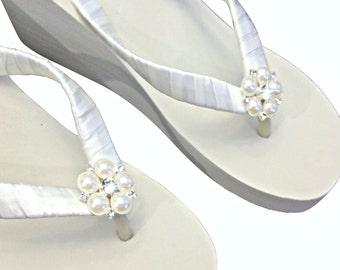 Wedge Bridal Flip Flops  - Wedding Flip Flips - Platform Flip Flops - Beach Wedding - Ivory Wedge Flip Flops - White Wedge Flip Flops