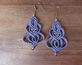 Macramé earrings in various colors