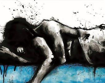 Wedding art print, 8x12, 16x12, A4, A3, select size, canvas sheet, hot cuddling couple w blue accents, sexy wall art