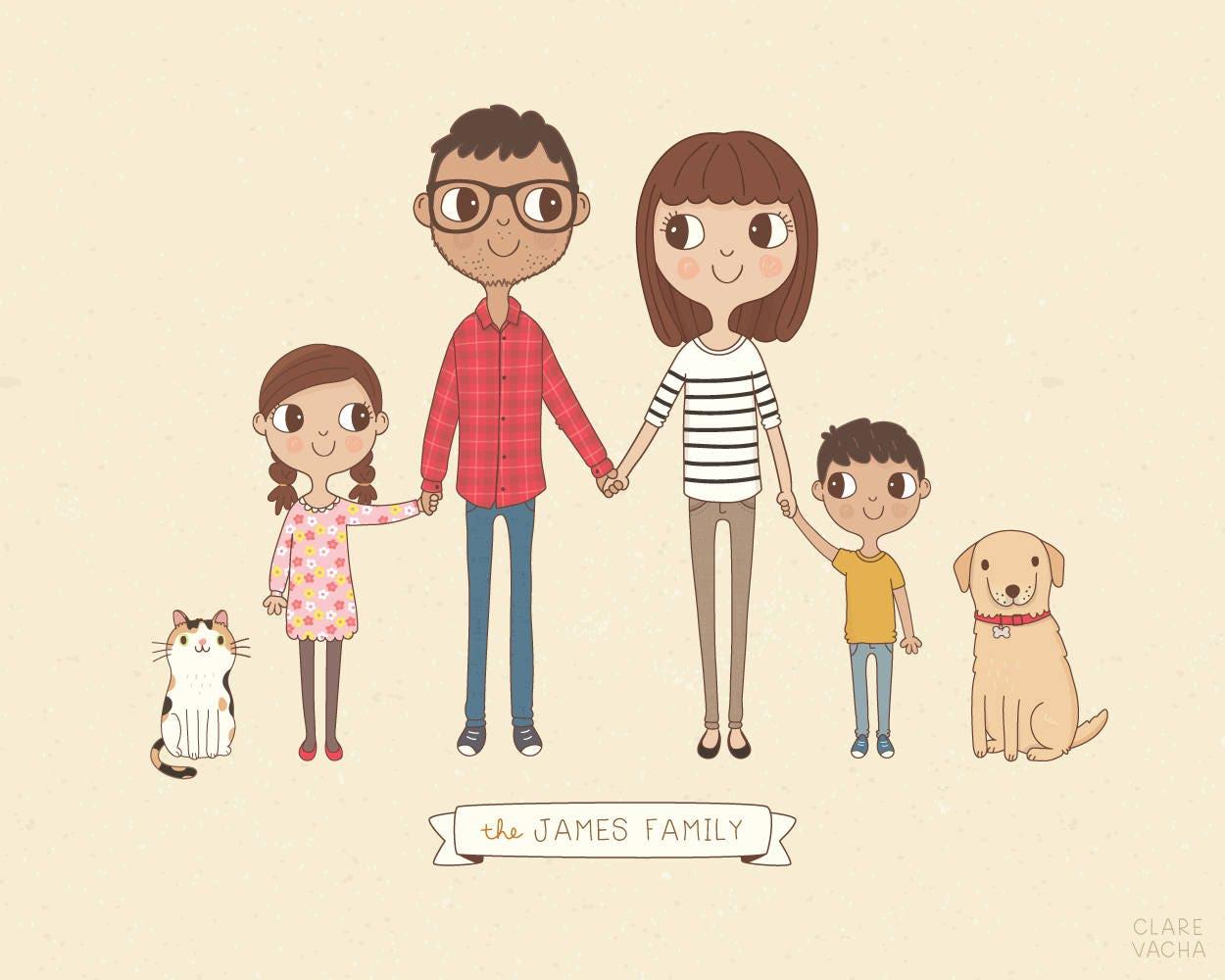 Custom Family Portrait Illustration, Personalised Digital Print, Gift Idea