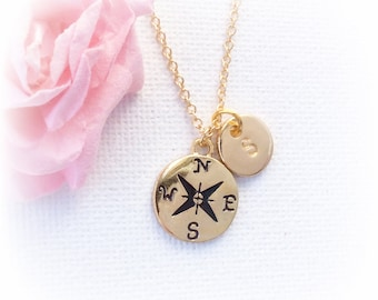 Gold Compass Necklace Personalized, Compass gift for mothers day Gold, Enjoy the Journey, compass necklace, GFINCOM4, bridesmaid gift