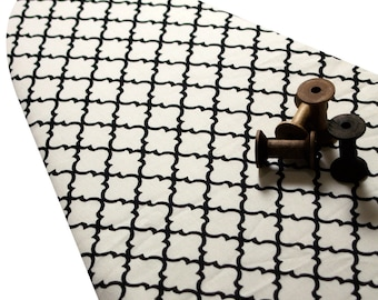 PADDED Ironing Board Cover with ELASTIC around edges made with HEAVYWEIGHT black mosaic on white fabric pick your size