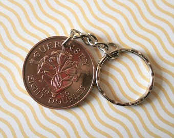 Guernsey  coin  EIGHT DOUBLES  1959   attaced to a keychain