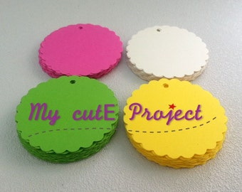 "100 Gift tags | Party favor | Party decoration | Tags | Scalloped circles | Color ""Flashy Party"" 