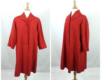 Vintage 60s Coat Size Large, Red Swing Coat, 60s Swing Coat, Mod Coat, Retro Rockabilly Womens Clothing 1960s, A-Line Winter Coat, Button Up