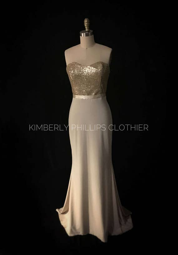 Floor Model - Ready to Ship!, Champagne and Gold Fitted Mermaid, Bridesmaid Dress, Prom Dress,