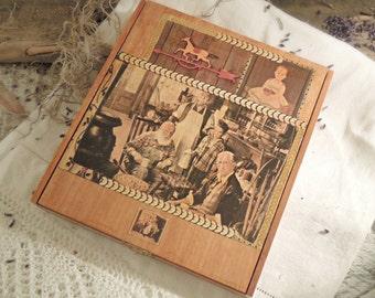 Vintage Up Cycled Cigar Box / Wood Cigar Box / Brass Latch