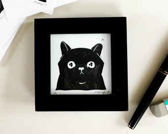 Cute Black Cat Mini Linoleum Block Print