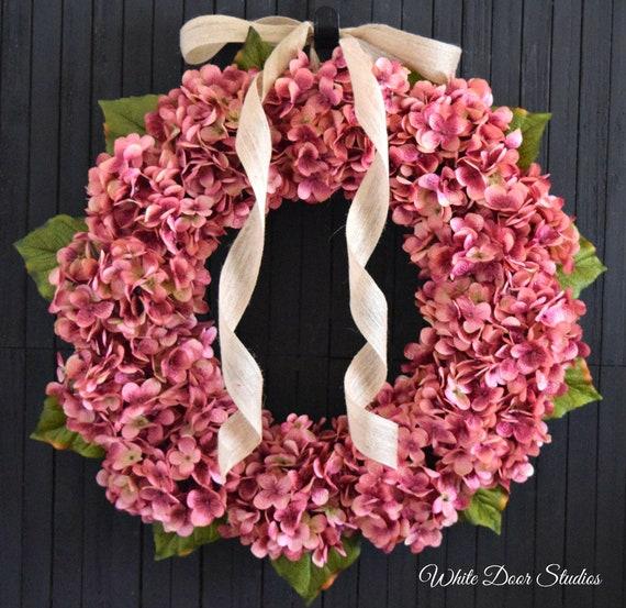 Rose Pink Hydrangea Spring and Summer Front Door Wreath