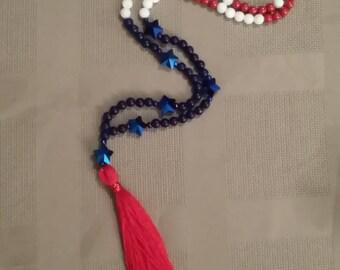 Red, White, Blue Tassel Necklace