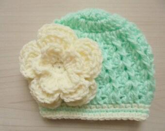 Mint green baby hat Newborn girl hat Baby girl beanie Newborn girl outfit Crochet baby hat Baby girl hat Crochet hat baby Girls crochet hat