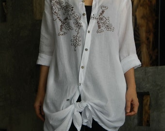 Sometime Somewhere - Knee Length Asymmetrically Front Opened Floral Hand Embroidered White Cotton Shirt/ Tunic/ Blouse