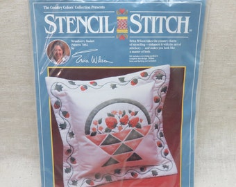 Erica Wilson, Stencil and Embroidery  Pillow Kit, Strawberry Basket Pillow Kit