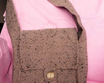 Bag has flap color Taupe speckled hand made knit
