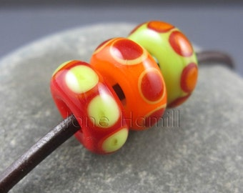 Glass charm beads, lampwork charm beads, lampwork glass beads, orange beads, red beads green beads, citrus beads, bhb, big hole beads, SRA