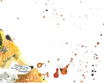 Fox watercolor print . Fox watercolor  Nursery
