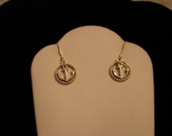 Silver Tone Anchor Charm Dangle Earrings