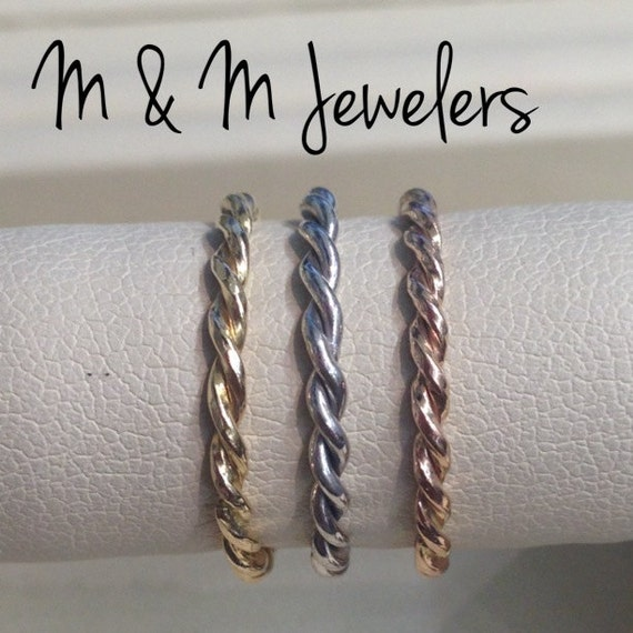 14K Rose, White, and Yellow Gold Twisted Stacking Bands