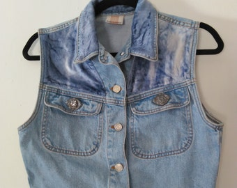 90s STREETS AHEAD denim vest with faded blue velvet patches M