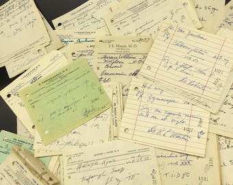 Vintage Pharmacy Medical Rx Prescriptions Bundle Lot of 20 for Altered Art Mixed Media Paper Ephemera 1950s