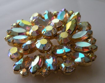 Rainbow aurora borealis AB rhinestone brooch pin