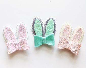 Glitter bunny ears hair clip or headband / Easter / spring / pastel