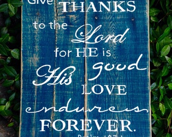 Scripture Wood Art, Wood Sign, Distressed, Rustic Reclaimed Wood Sign, Psalm 107