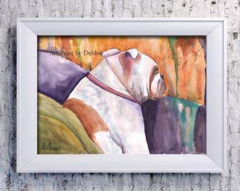 English Bulldog Watercolor Painting Print, Abstract Modern Dog Lover Gift Wall Art Decor, Bulldog Portrait 3 Sizes 8x10 to 16x20
