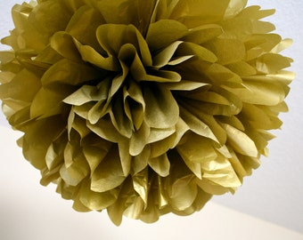METALLIC GOLD tissue paper pompom / new year's eve nye wedding decorations golden anniversary party dessert candy bar decor spa party