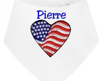 Personalized with name U S A baby bandana bib