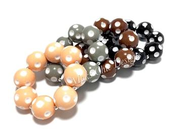 Toddler or Girls Polka dot Chunky bracelets - Dot Bracelet - Peach, Grey, Brown and Black Bracelet - Toddler Bracelets - Bubblegum Bracelets