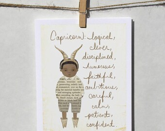 Capricorn boy Astrological / Zodiac sign card with envelope