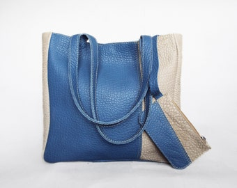 Leather tote bag. Blue and off white leather shoulder bag. Summer leather tote. Blue and bone white tote leather.