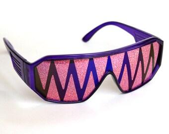 Rasslor Purple and Pink Shark Teeth Shield Sunglasses
