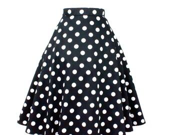 Pinup  Polkadots  Full Circle  Skirt