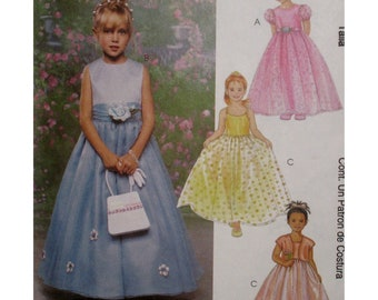 Flower Girl Dress Pattern, Fitted Bodice, Full Skirt, Shoestring Straps, Sleeveless/Puff Sleeves, Bolero, McCalls No. 3537 UNCUT Size 6 7 8