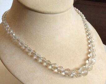 Vintage faceted crystal bead gold filled necklace