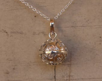 Chime Ball - Mexican Bola -  Bola Necklace Charm - Harmony Ball - Angel Caller - Pregnancy Gift - Sterling Silver - Sphere Pendant Only
