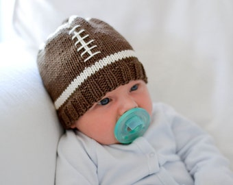 Knitting Pattern - Football Baby Hat Knit Pattern