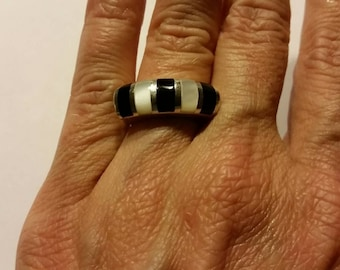 Black and White Sterling Silver Ring Inlay 925 Boho Jewelry