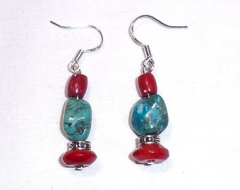 Beaded Dangle Earrings Of Genuine Turquoise Nuggets and Red Coral Beads - Cowgirl - Southwestern Style
