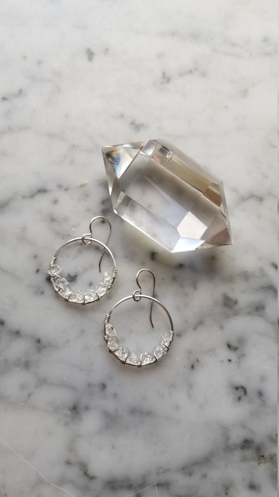 """1"""" wide Herkimer diamond lined sterling silver hoops Pleiades seven sisters half moon small"""
