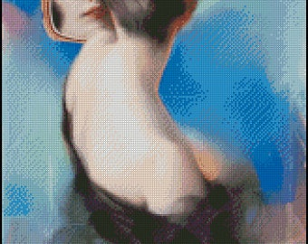 Vintage WOMAN cross stitch pattern No.377