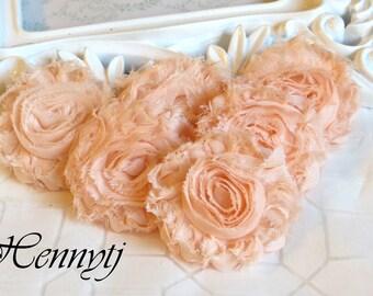 New Color: Set of 6 Shabby  Frayed Vintage look Chiffon Rosette Flowers - Light Salmon / Peach