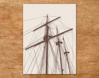 Tall Ship - brown on sand handmade screen print